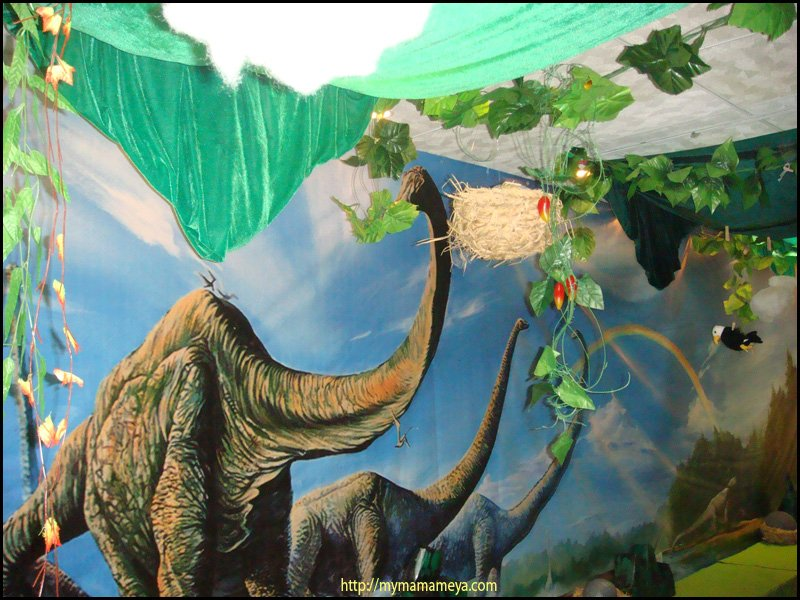 dinosaur birthday party backdrop closeup