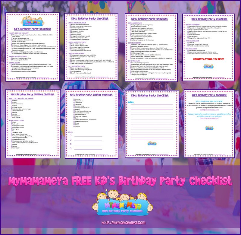 mymamameya free kids birthday party checklist download pdf